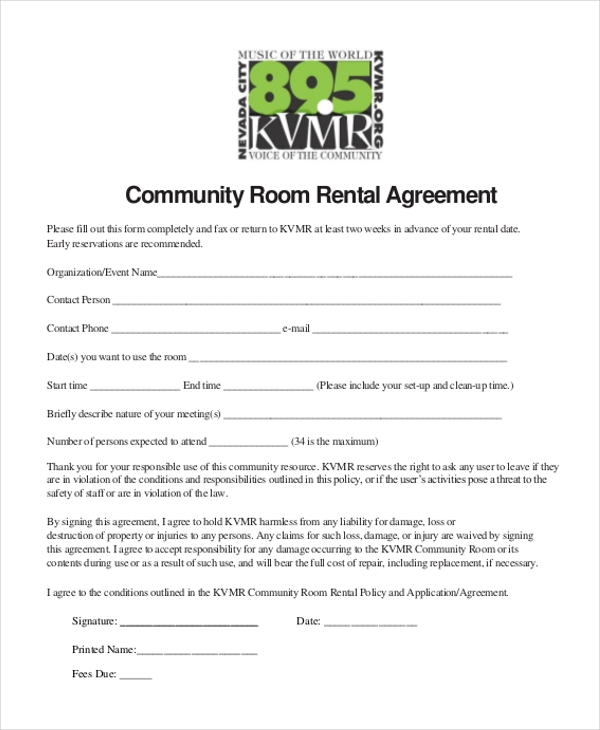 sample room rental agreement form