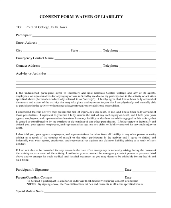 Consent Form Waiver Of Liability Form  Legal Liability Waiver Form