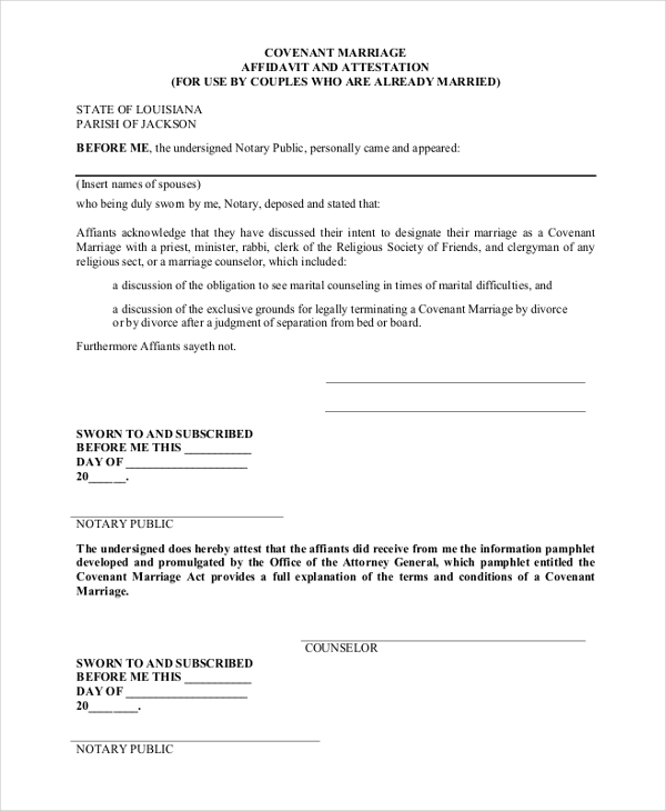 covenant marriage affidavit