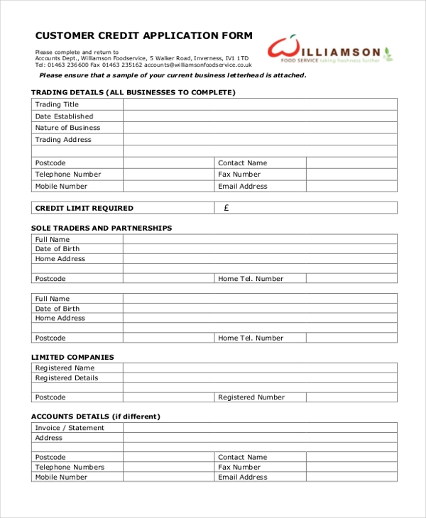 11 sample credit application forms free sample example format. Black Bedroom Furniture Sets. Home Design Ideas