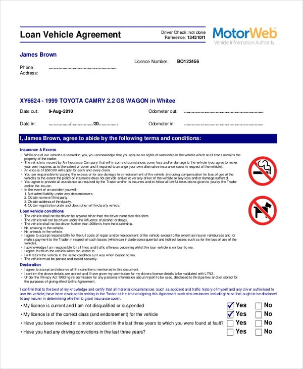 Sample Loan Agreement Form 9 Free Documents in PDF – Auto Loan Contract Form