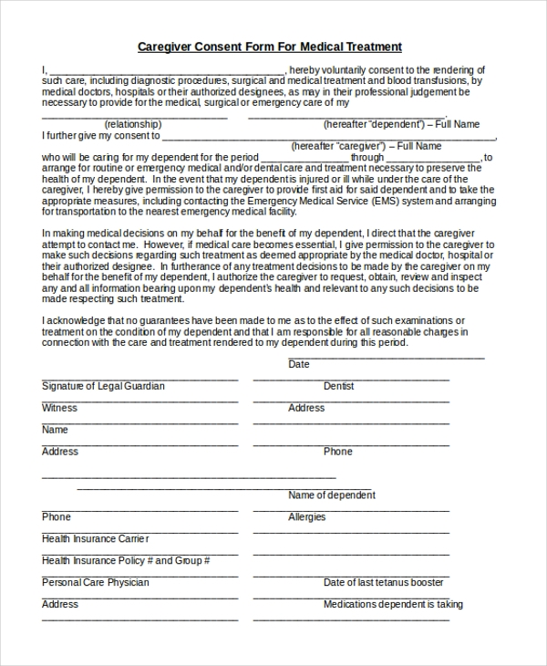 caregiver consent form for medical treatment