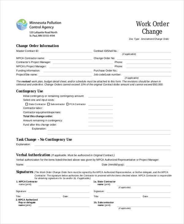 Sample Change Order Form   Free Documents In Doc