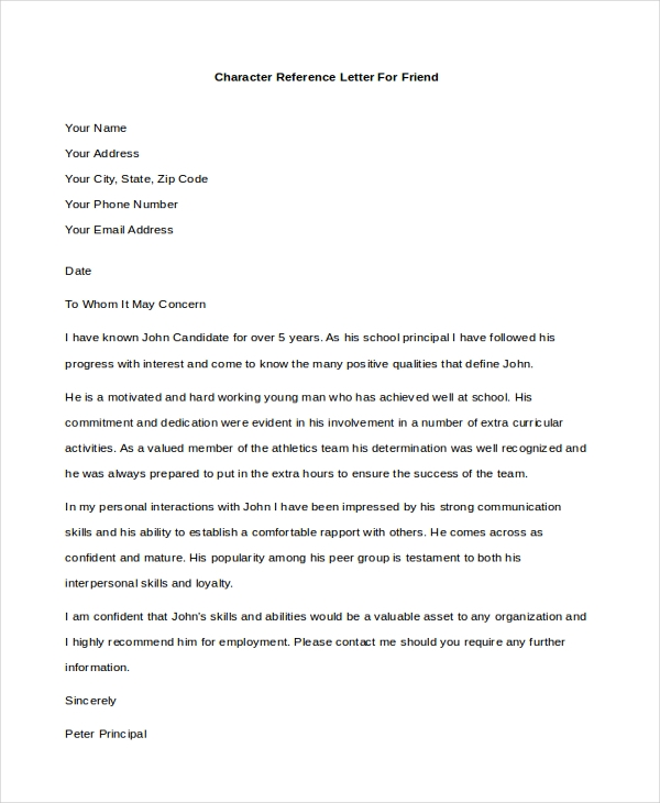 Character Reference Letter For Friend  Character Reference Letter For Employee