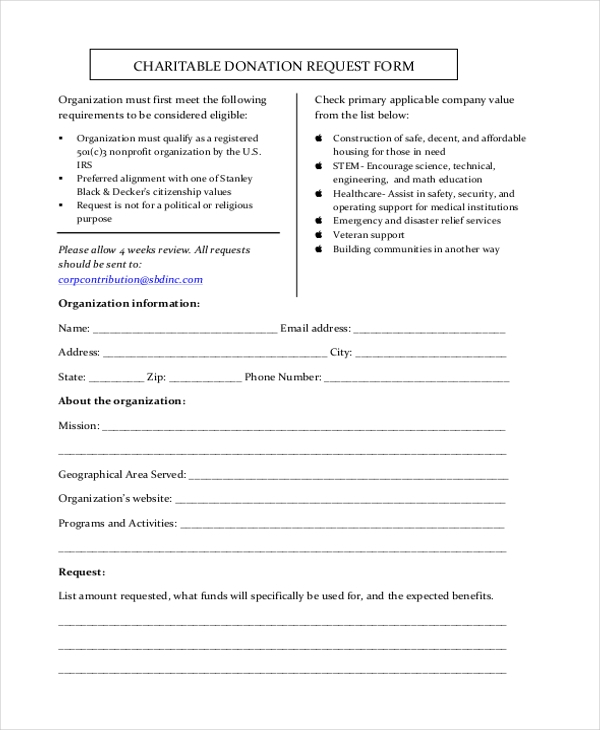 Sample Donation Request Form   Free Documents In Doc Pdf