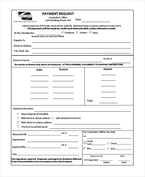 Sample Check Request Form   Free Documents In Doc Pdf