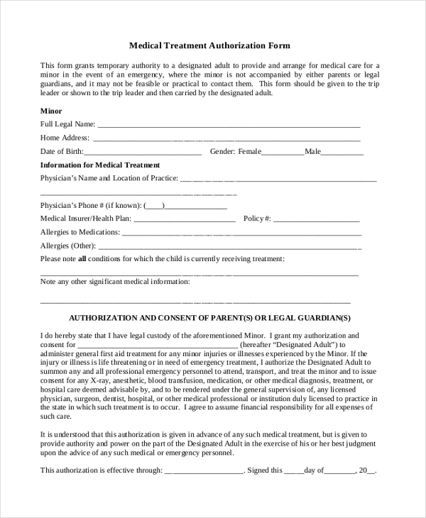 Sample Medical Authorization Form   Free Documents In Pdf