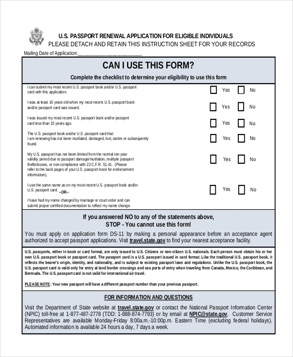 Sample Passport Renewal Form 8 Free Documents In Pdf