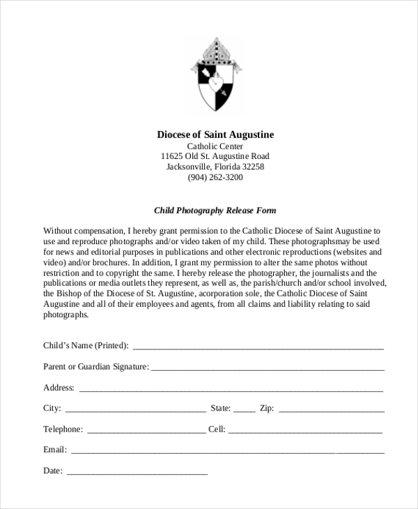 child photography release form