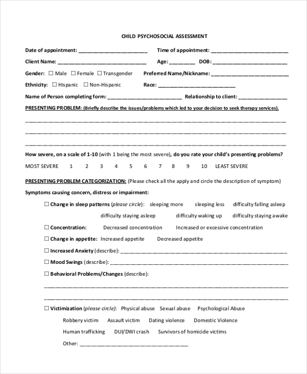 Sample Psychosocial Assessment Form 8 Free Documents in Doc PDF – Psychosocial Assessment Form