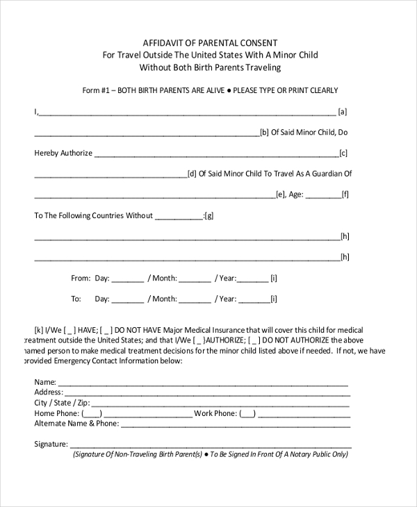 child travel parental consent form
