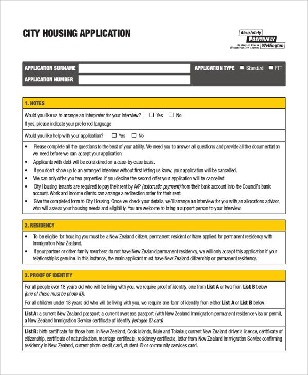 city housing application form