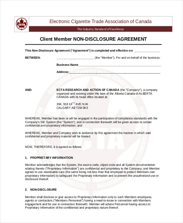 Non Disclosure Agreement Sample Form 10 Sample Example