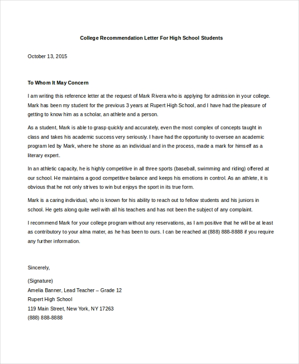 Sample College Letter Of Recommendation   Free Documents In Pdf Doc