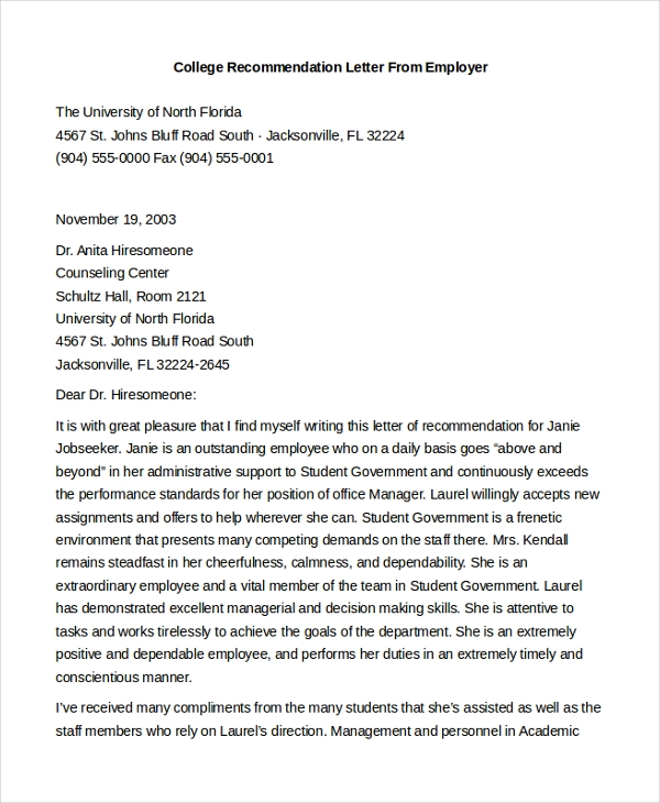 Sample Letter Of Recommendation For Employment   Free Documents