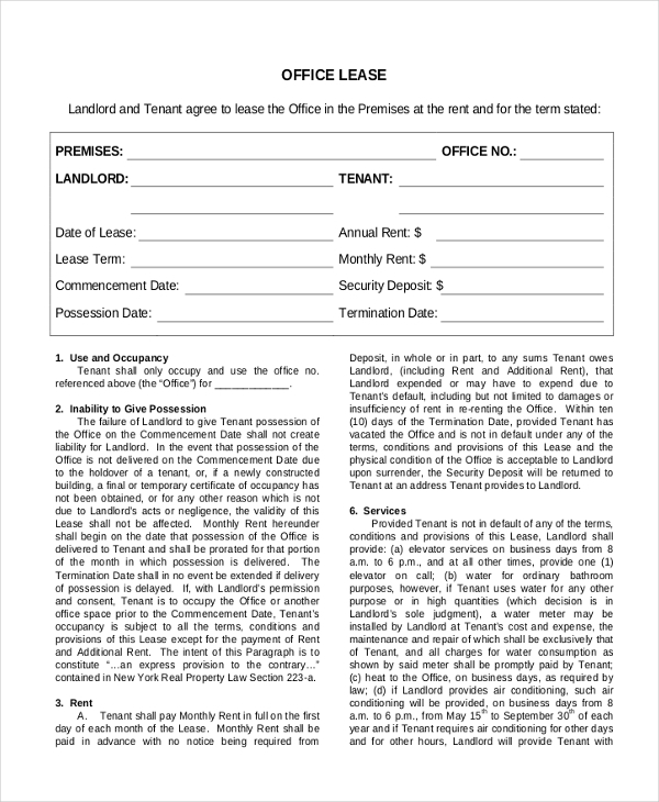 Sample Commercial Lease Form 9 Free Documents in PDF Doc – Sample Office Lease Agreement