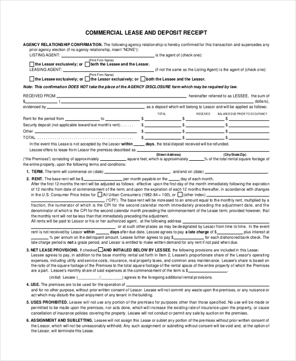 commmericial lease and deposit receipt form