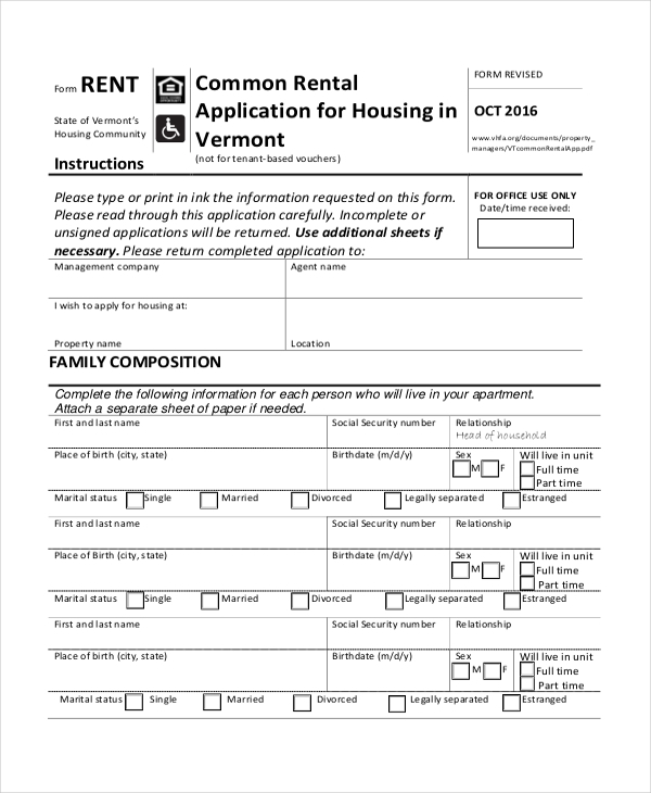 common rental application for housing