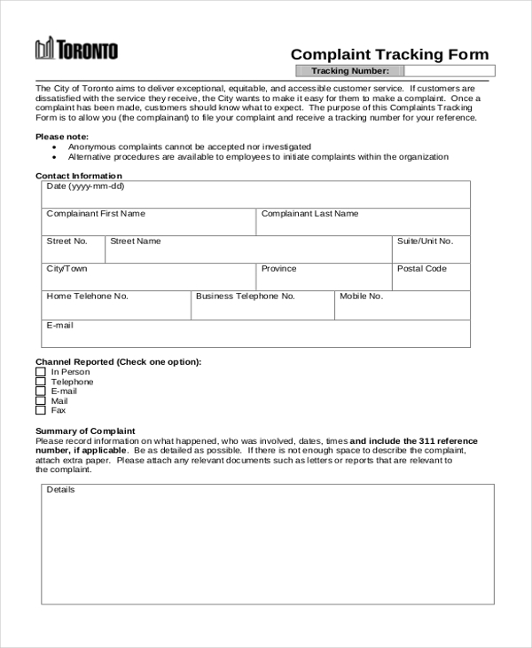 complaint tracking form