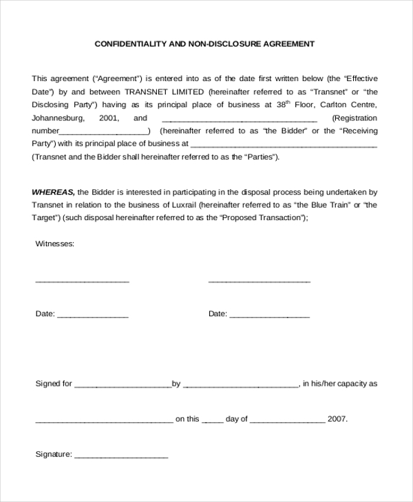 NonDisclosure Agreement Sample Form 10 Sample Example Format – Sample Non Disclosure Agreement