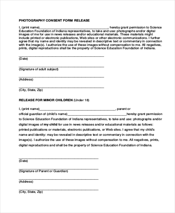 Sample photography release form 10 free documents in for Photography permission form template