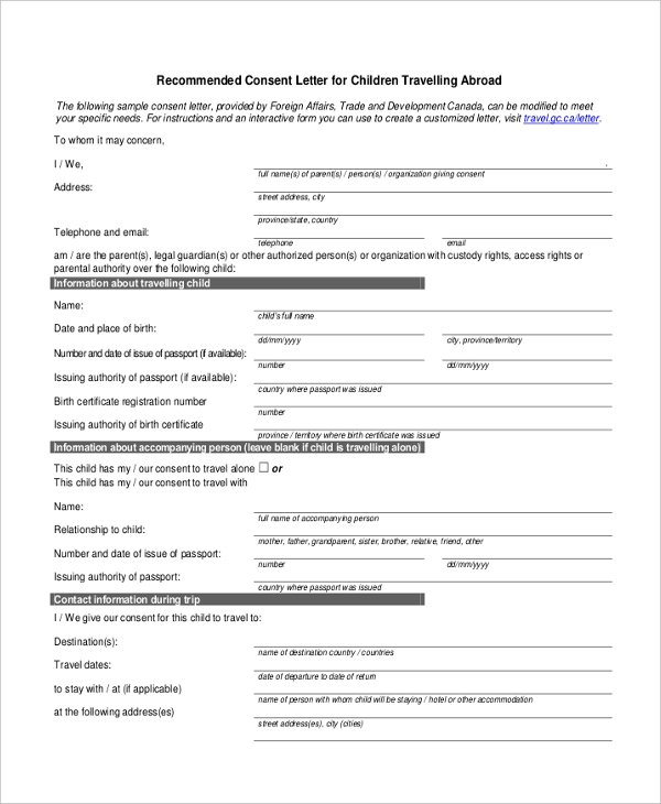Child Permission To Travel Letter Child Travel Consent Form Create