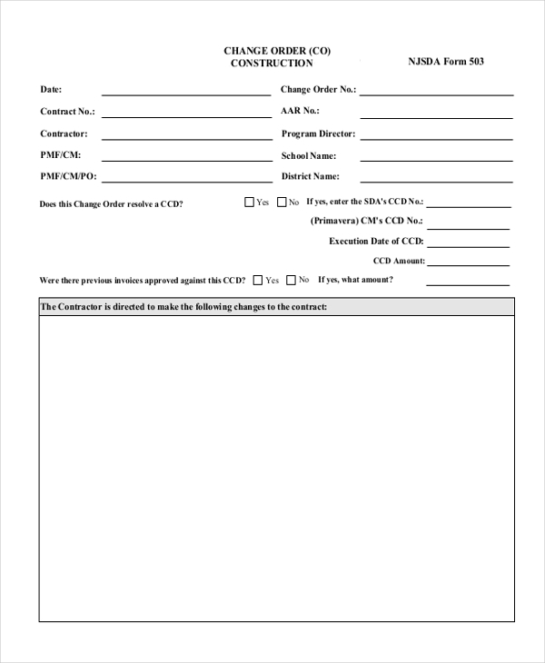 What are some free change order forms paperwingrvice for Order of subcontractors when building a house