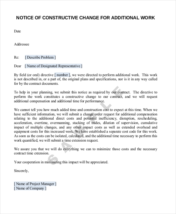 construction contract notice letters