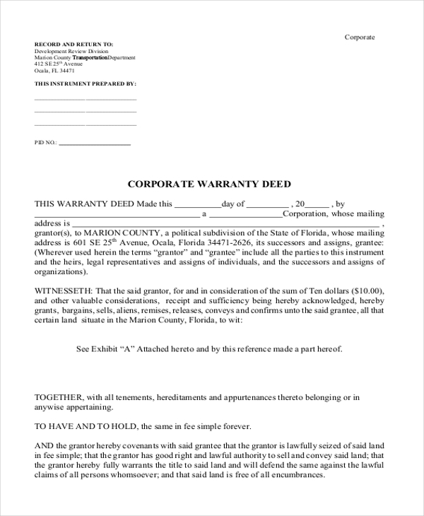 Sample Warranty Deed Form   Free Documents In Word Pdf