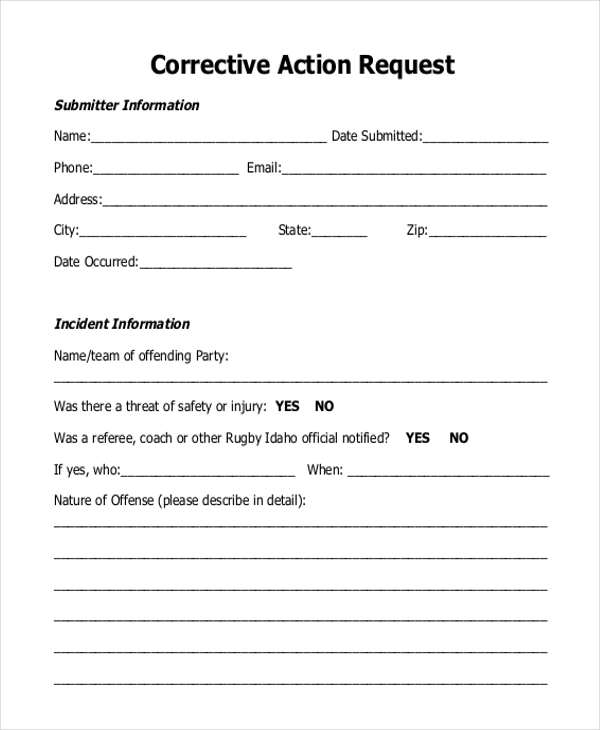 Corrective Action Request Form