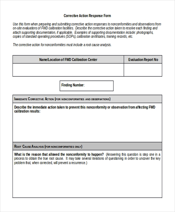 Sample Corrective Action Form   Free Documents In Doc Pdf