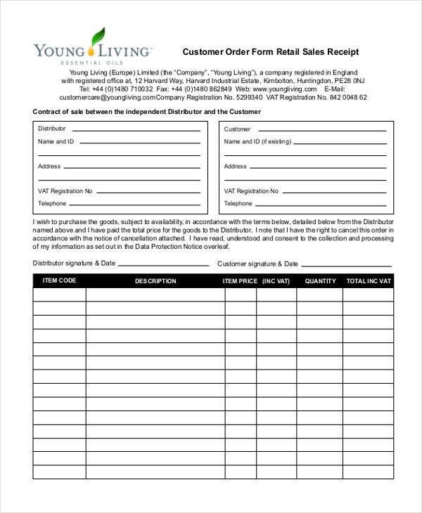 customer order form retail sales receipt