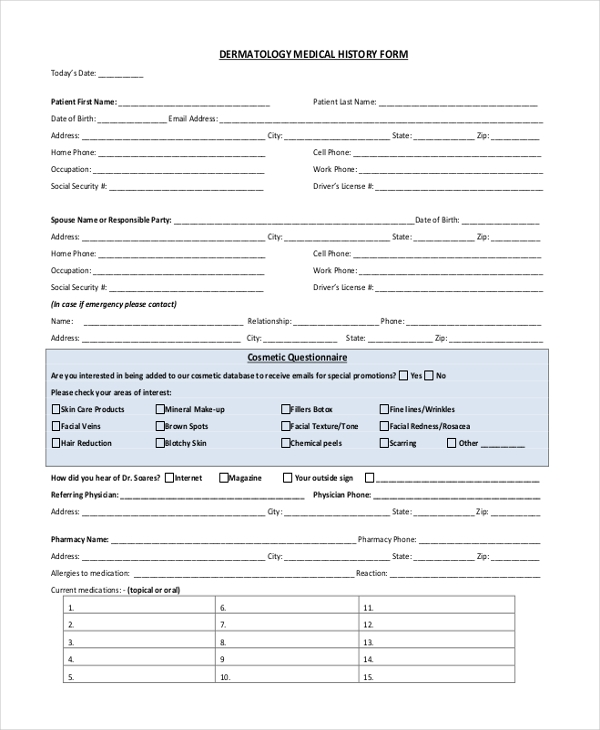 Sample Medical History Form - 11+ Free Documents in Doc, PDF