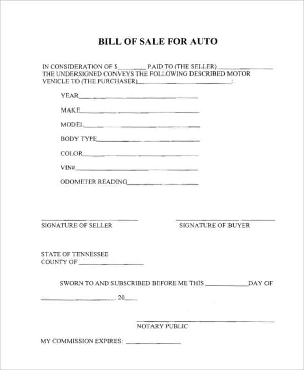 Sample Dmv Bill Of Sale Form   Free Documents In Pdf