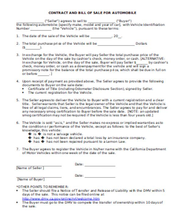 dmv bill of sale contract form