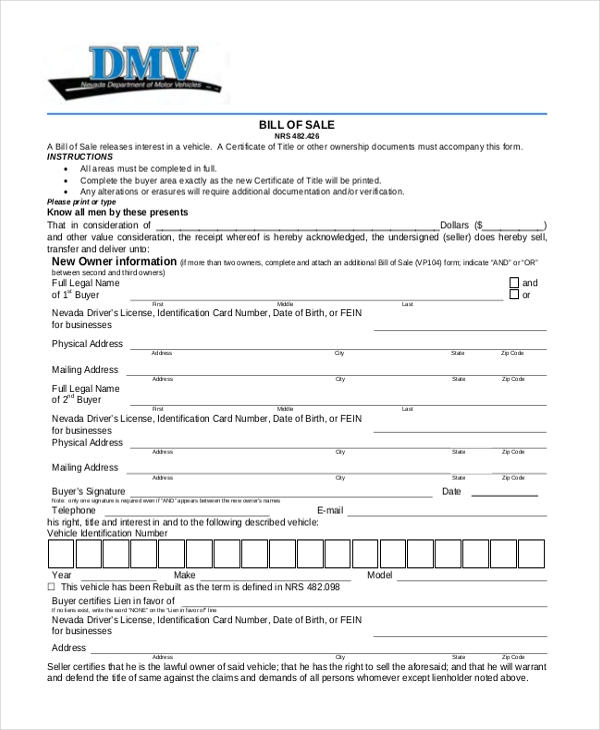 Sample Dmv Bill Of Sale Form - 8+ Free Documents In Pdf
