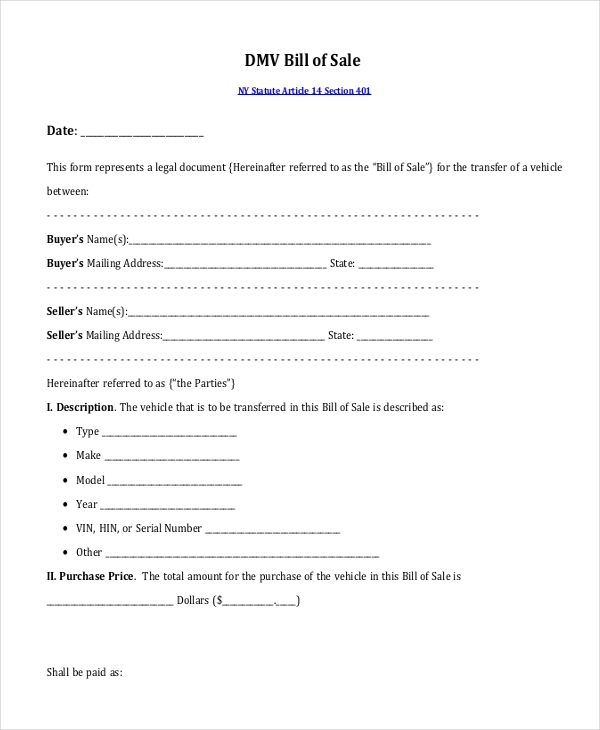 dmv bill of sale form1