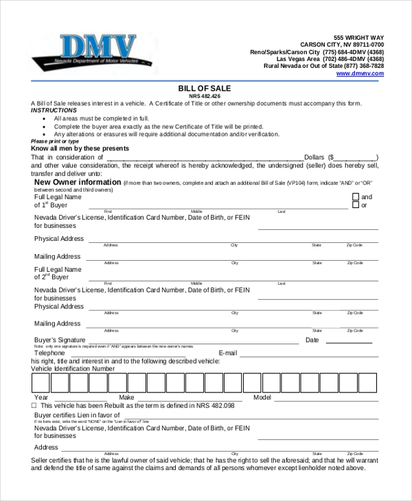 dmv bill of sale pdf