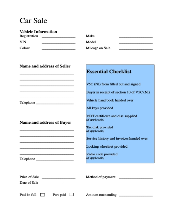 dmv car sale form