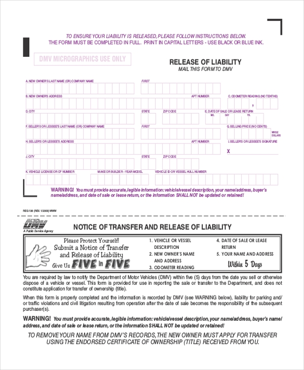 Release Of Liability Form Car Sale Template
