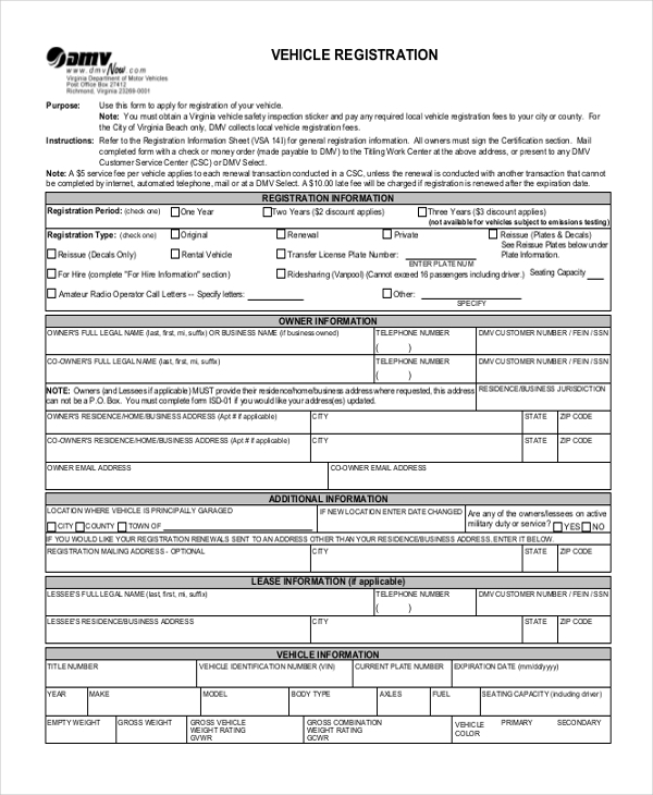 Sample Registration Form   Free Documents In Pdf