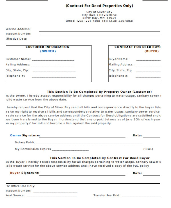 deed contract transfer form