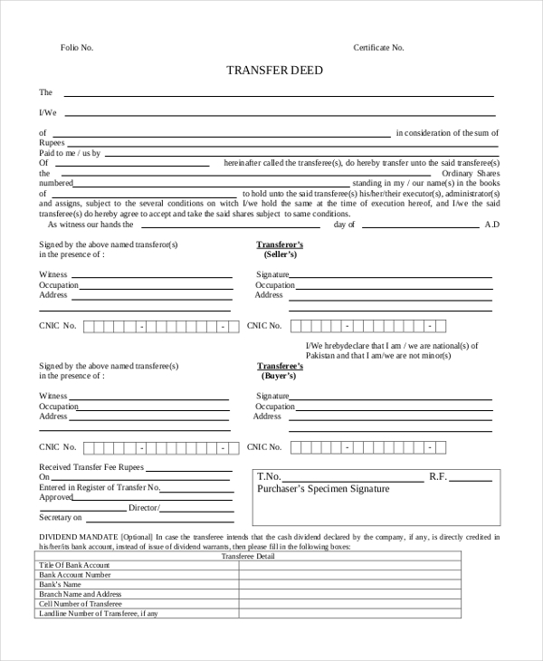 deed transfer form