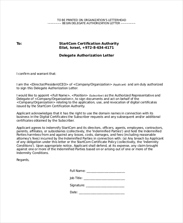 delegate authorization letter