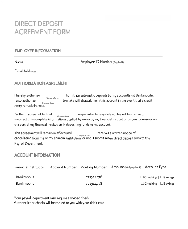 direct deposit agreement form1