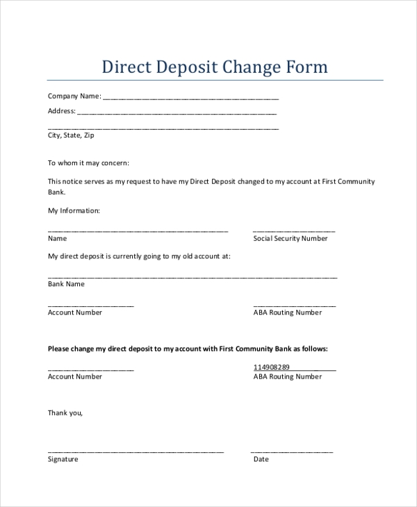 direct deposit change form
