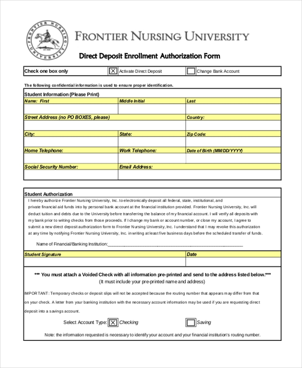 direct deposit enrollment authorization form