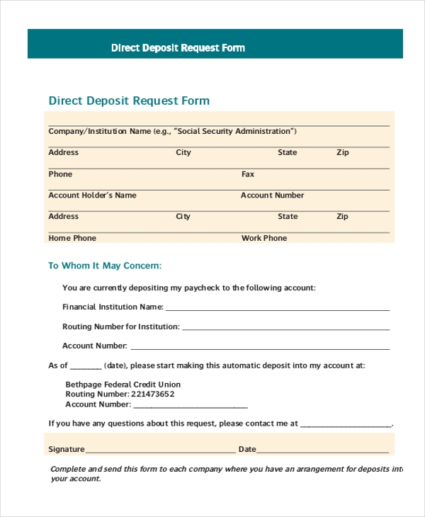 Direct Deposit Request Form  LondaBritishcollegeCo