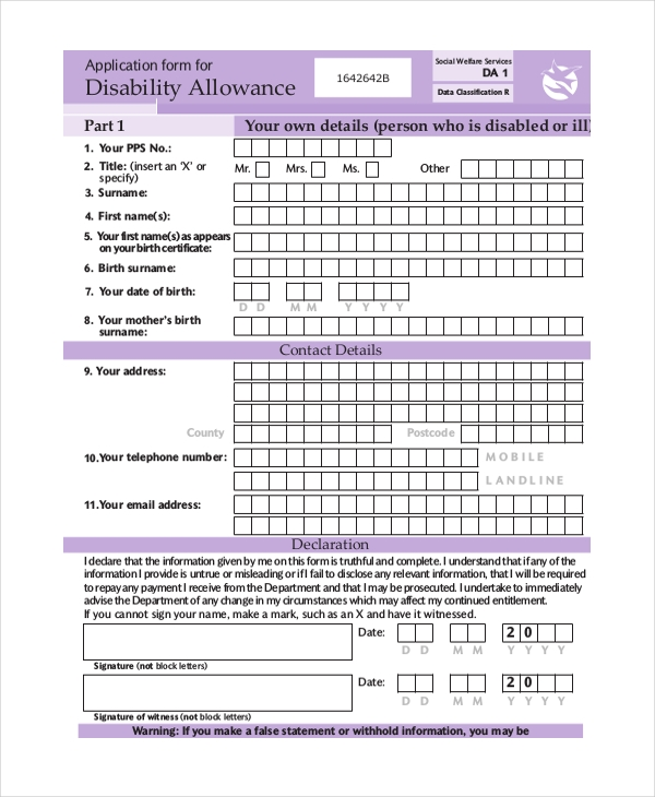 disability living allowance form