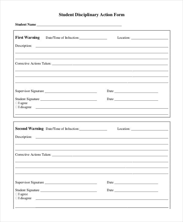 Sample Disciplinary Action Form 9 Free Documents in PDF – Disciplinary Action Form